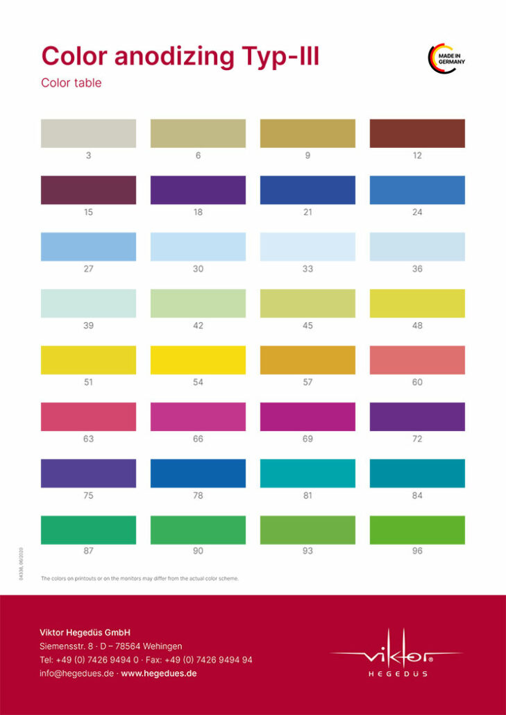 Viktor Hegedüs GmbH –Color anodizing Typ-III – Color Table